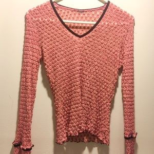 Pink textured long sleeve detailed sleeves
